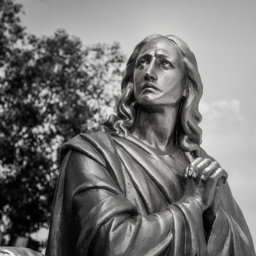 A lovely statue, rendered in black and white, on St. Thomas Mount on the outskirts of Chennai in India.