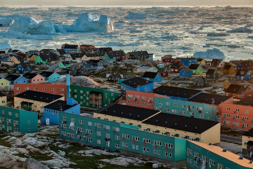 Public housing  on the shores of the Ilulissat Icefjord,  Ilulissat, Greenland .