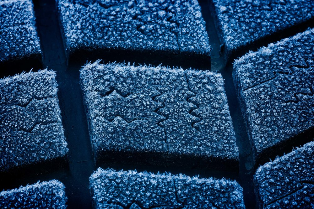 A close up of frost on a car tyre provides perfect subject matter for an exploration into the world of abstraction.