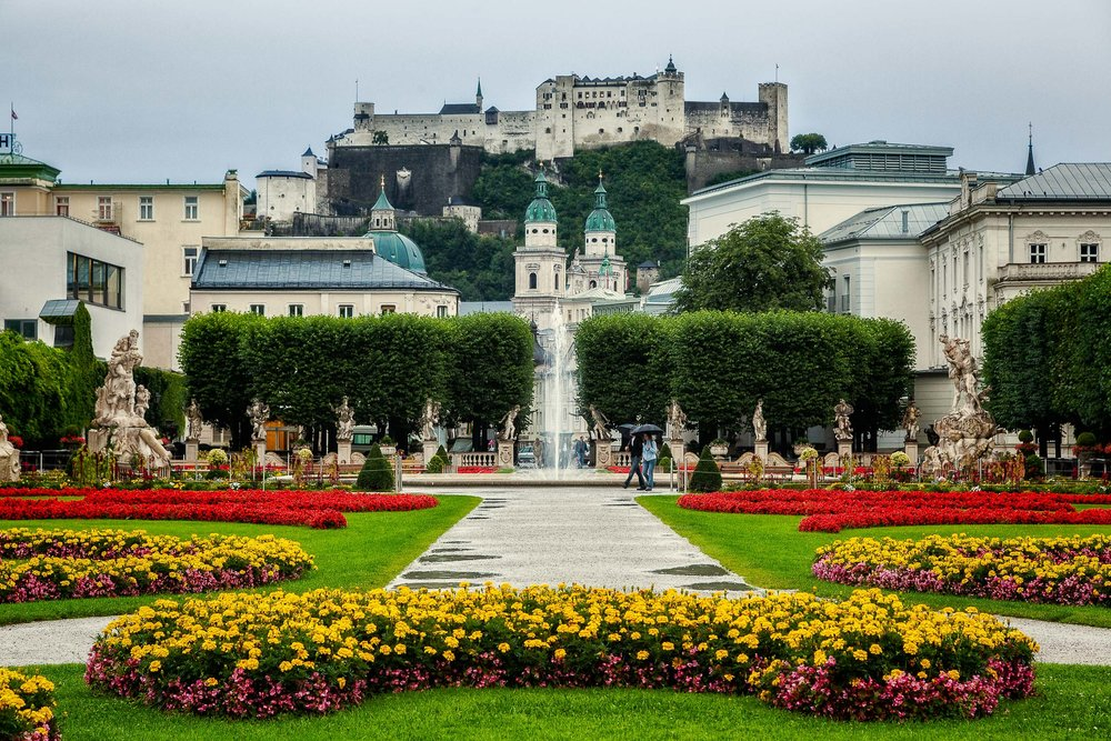 A classic view of Hohensalzburg Fortress from the beautiful Mirabell Gardens in Salzburg, Austria.