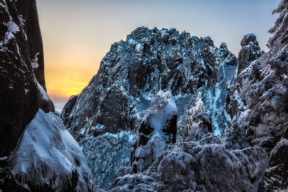 China's Huangshan (i.e., Yellow Mountain), is an eden of beauty, even in the depths of winter.