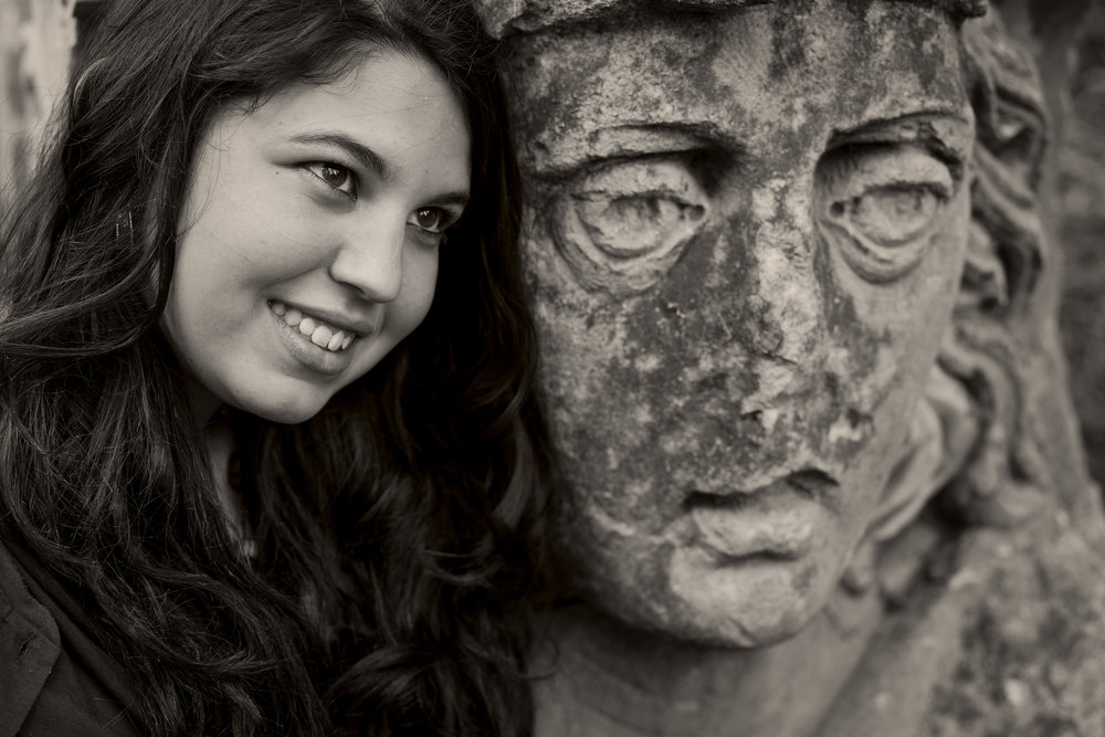 A black and white portrait of Lisa, a young Italian student in Melbourne, Australia.