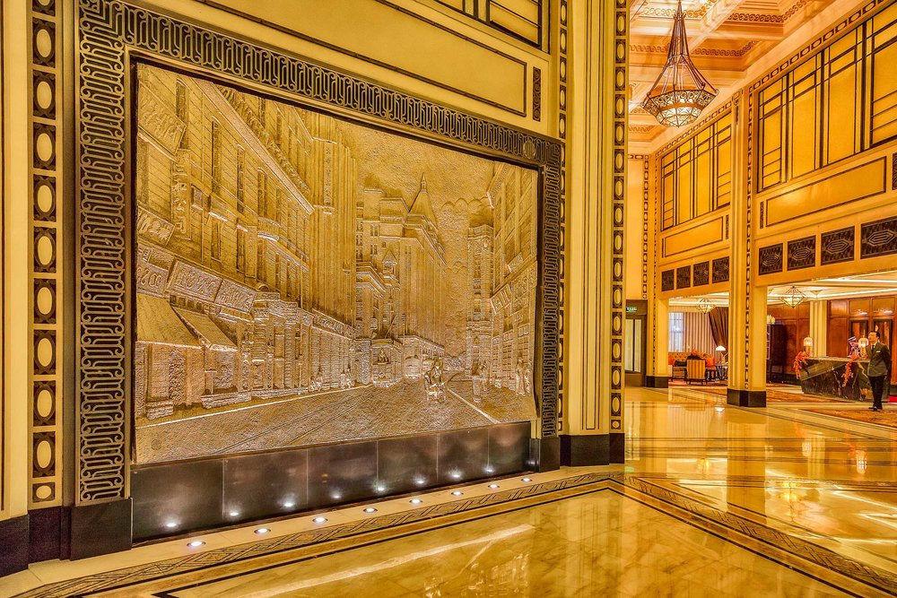 A fabulously detailed mural in the lobby of the Fairmont Peace Hotel in Shanghai, China.