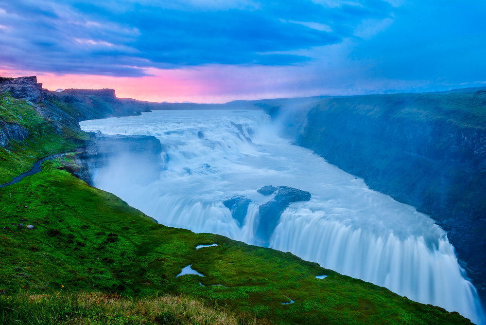 The spectacular  Gullfoss waterfall  in  Southern Iceland  photographed, through the spray, during the afterglow that followed a beautiful sunset.