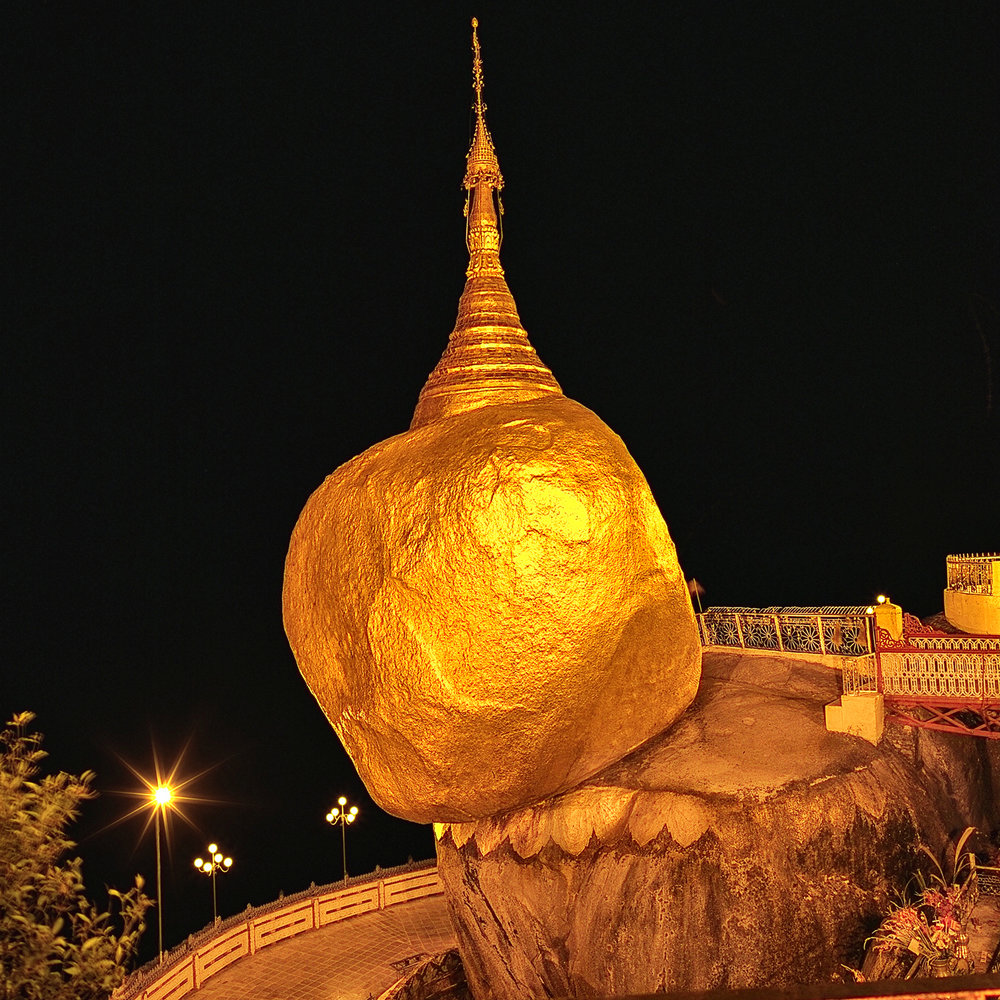 Kyaiktiyo, The Golden Rock Pagoda, photographed at night in Myanmar