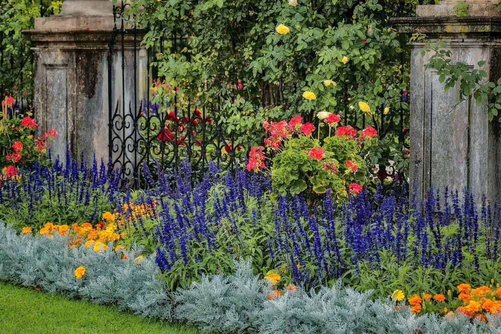 A beautiful, rambling flower garden at Mirabell Gardens in Salzburg, Austria.