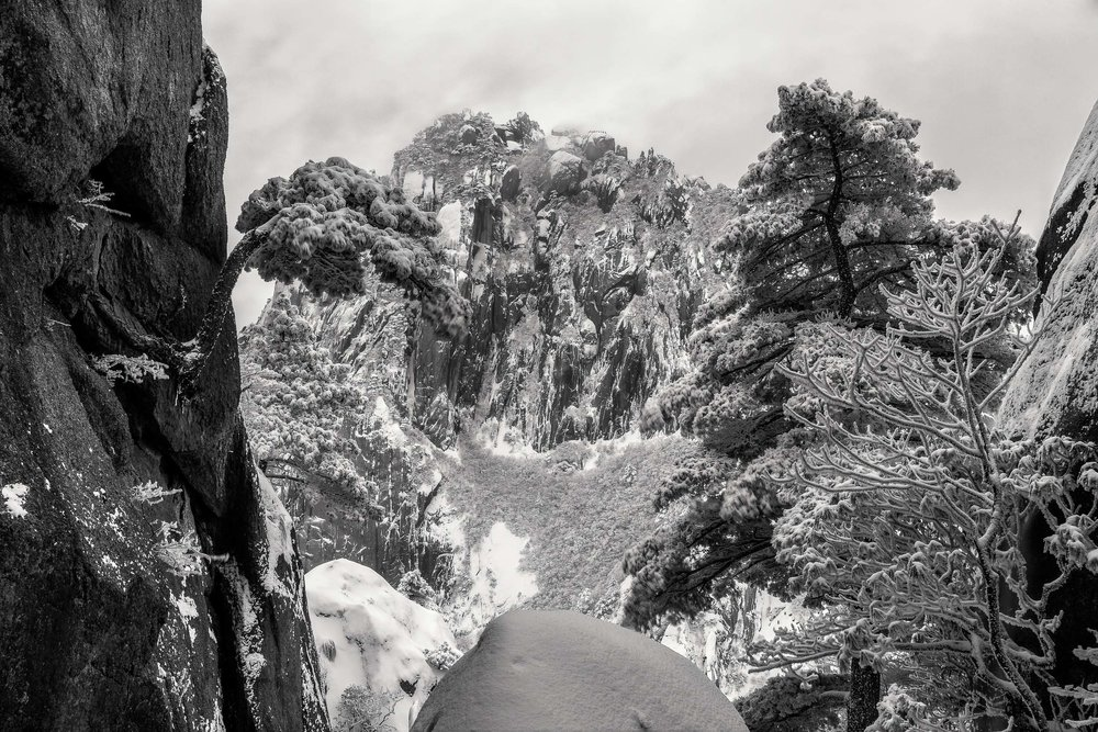 One of many amazing views on Huangshan (i.e., Yellow Mountain). This particular scene is so highly textured that I opted for a black and white rendering.
