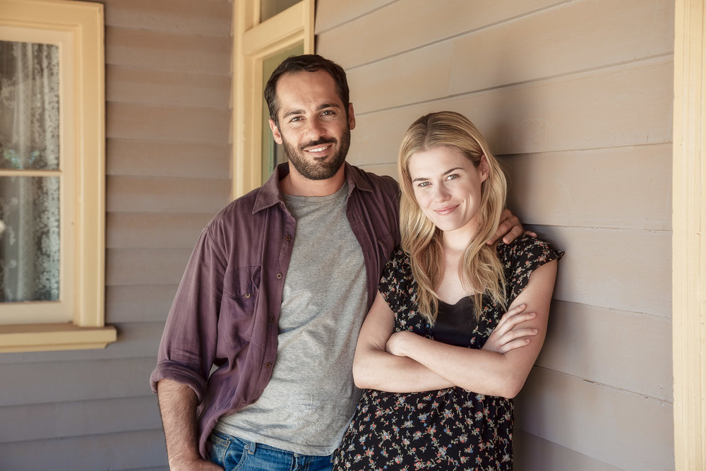 Rachel Taylor  and  Alex Dimitriades  photographed under the veranda near the back door of an historic house on the outskirts of  Mildura  during the filming of  Summer Coda .