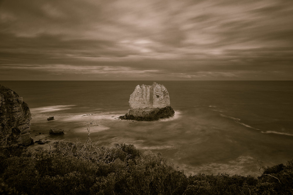 Eagle Rock    in the town of    Aireys Inlet    along the    Great Ocean Road    in    Victoria, Australia   .