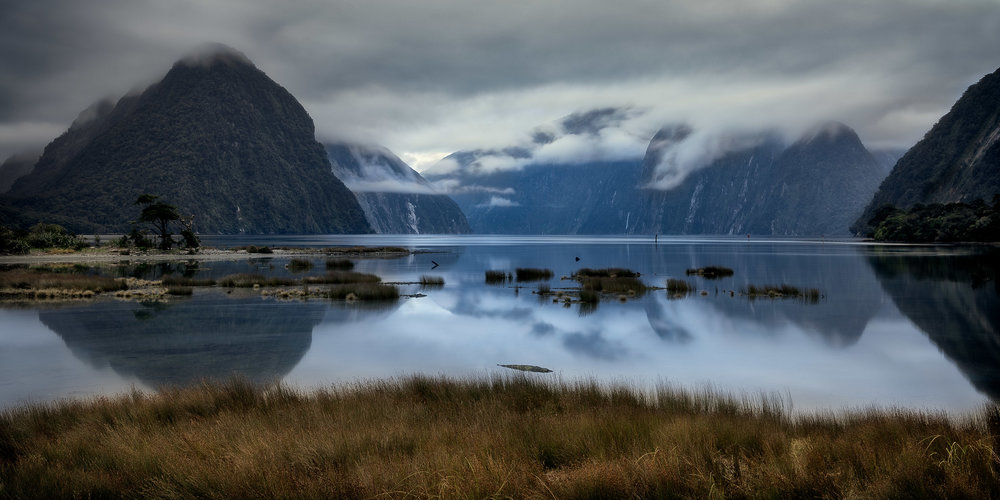 The blue light of dawn on a still morning at Milford Sound, New Zealand.
