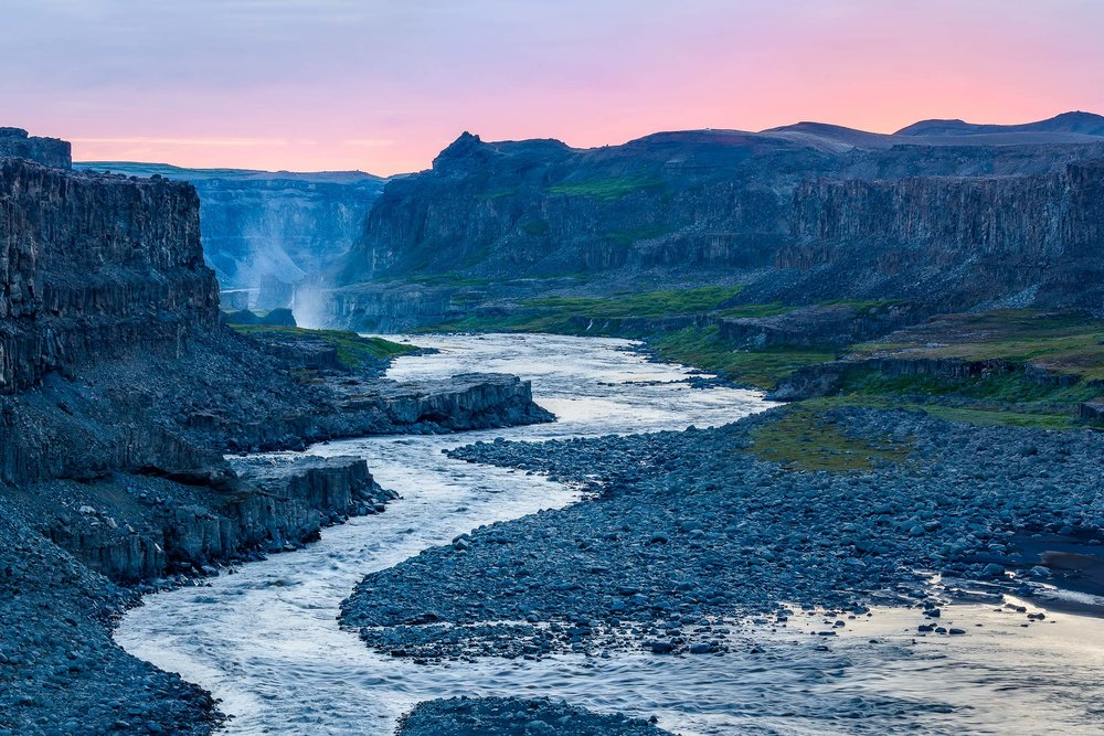 A most spectacular scene as the  Jökulsá á Fjöllum river  cuts its way through the rugged landscape downstream from the incredible  Dettifoss Waterfall  in  the  Vatnajökulla National Park  in  Northeast Iceland .