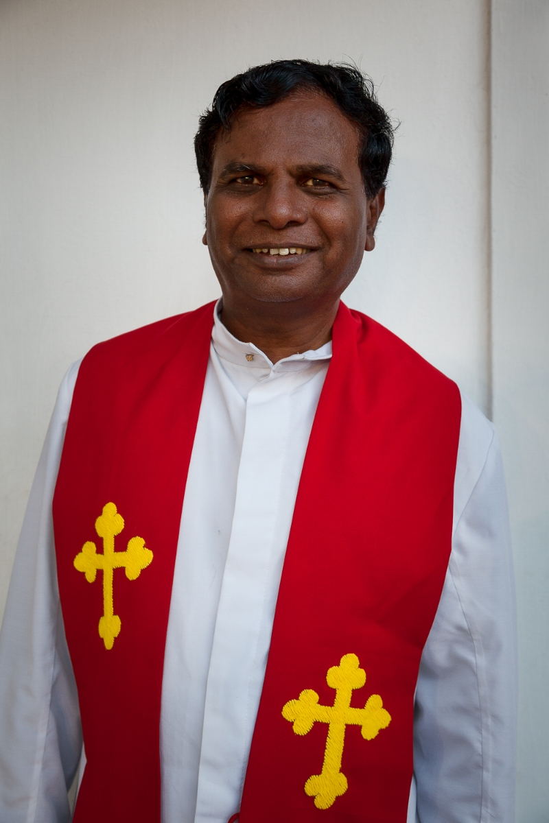 A  portrait  of the  head priest  at  St. Thomas Mount National Shrine  in  Chennai, India .