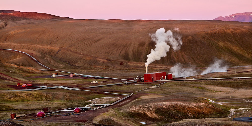 A sunset view of the Krafla Geothermal Power Station near Myvatn in northern Iceland.
