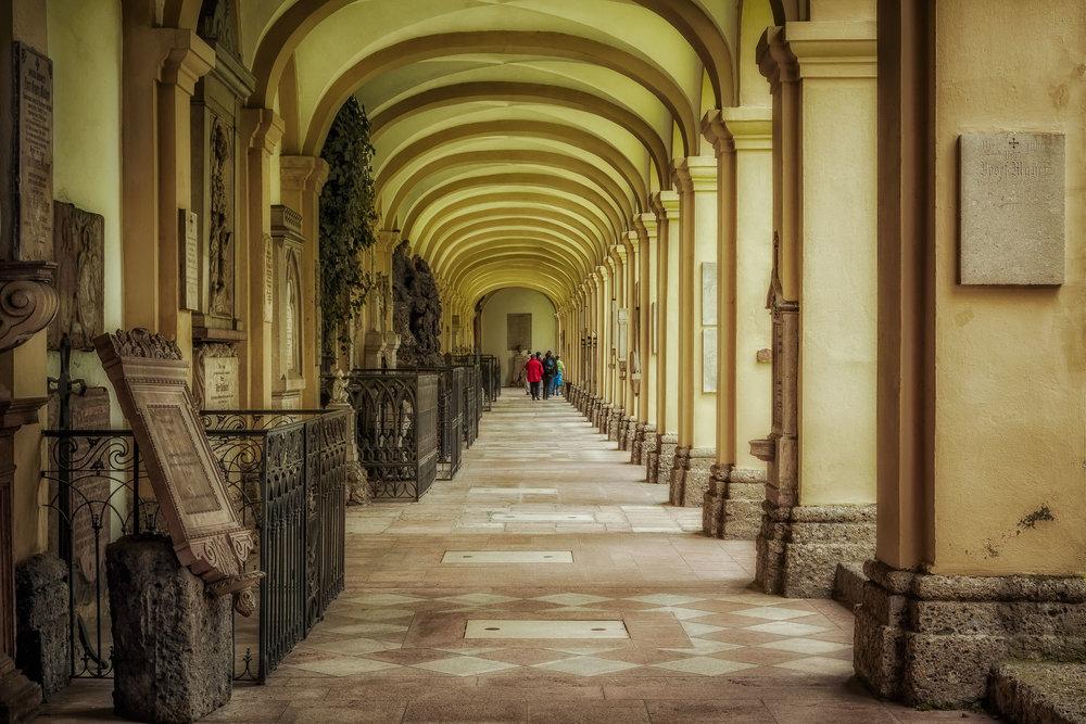 Corridor, St. Sebastian's Cemetery, Salzburg, Austria