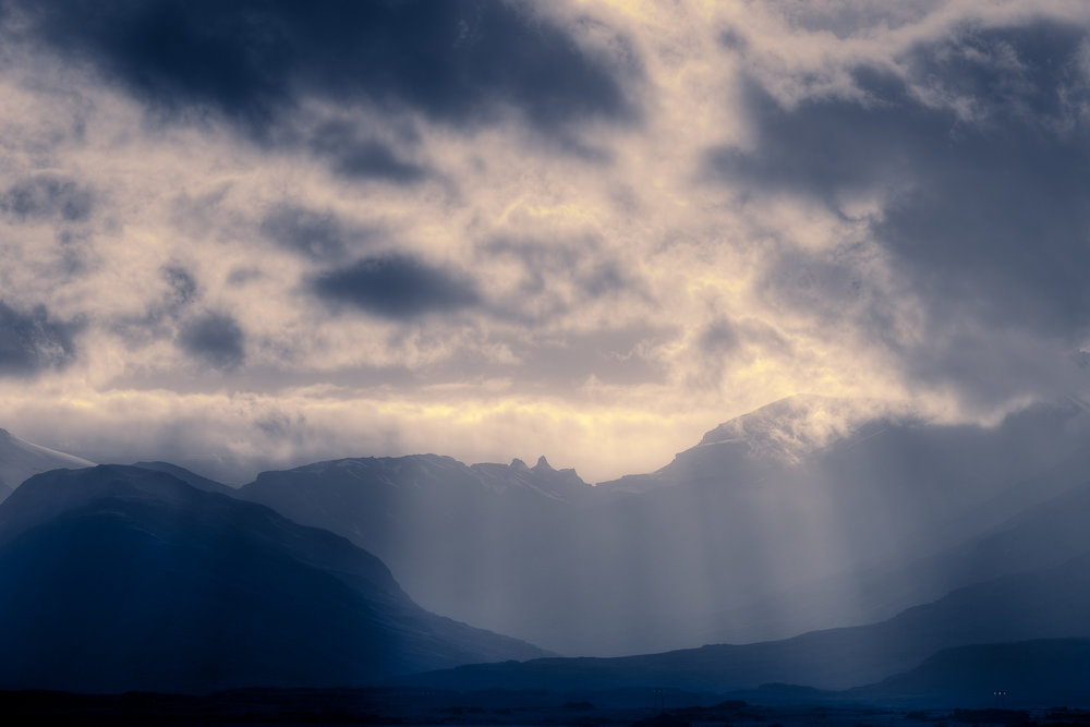 Magnificent  'God Rays'  illuminate the landscape in the  Highlands  region of  Central Iceland .