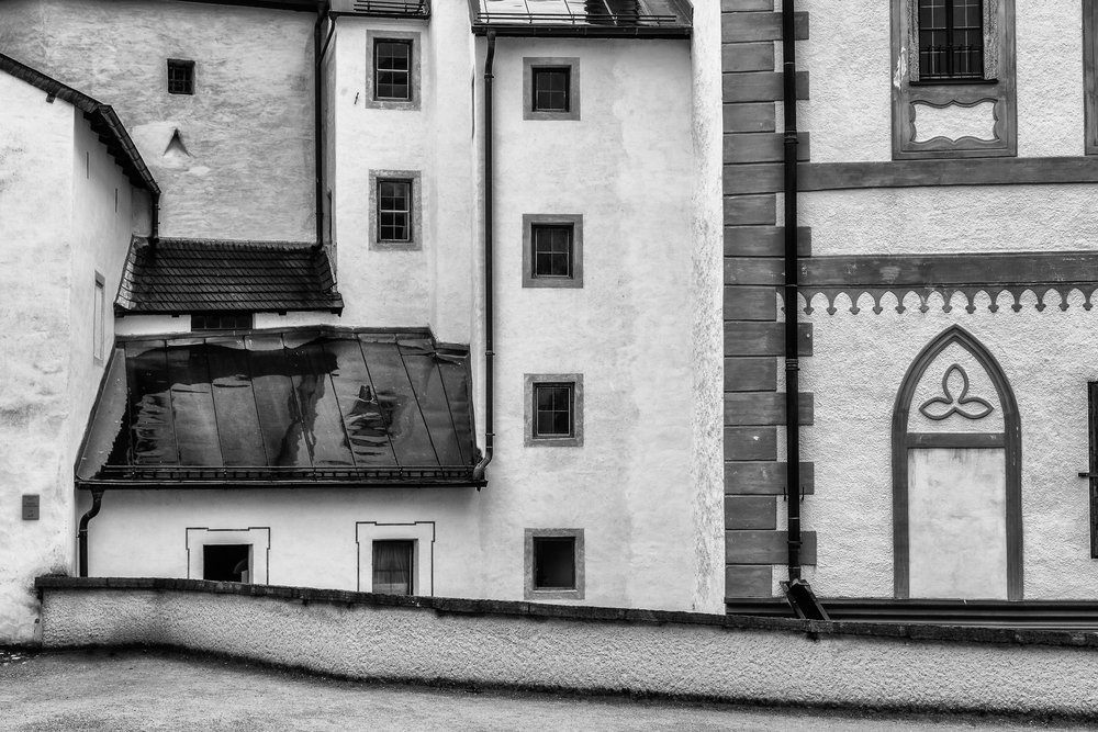 An interesting arrangement of  design elements  on these  inner walls  of the  Hohensalzburg Fortress  in  Salzburg, Austria
