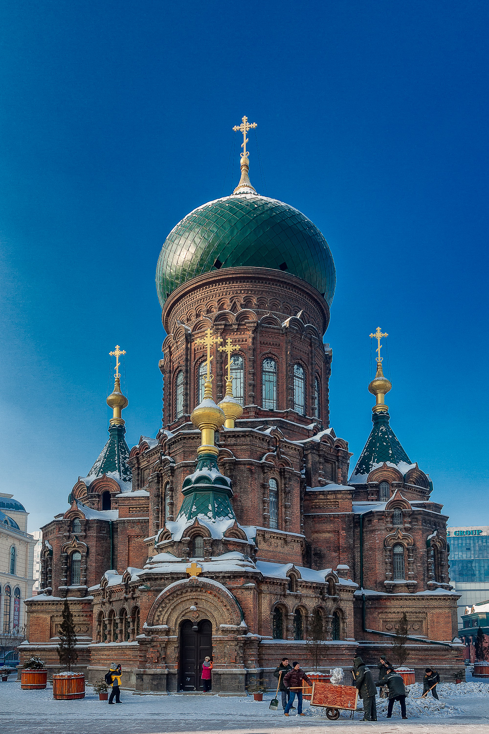 An exterior view of  St. Sophia Cathedral  in  Harbin, China .