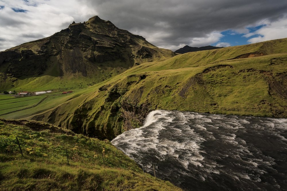A view across the top of  Skógafoss waterfall  in  southern Iceland .
