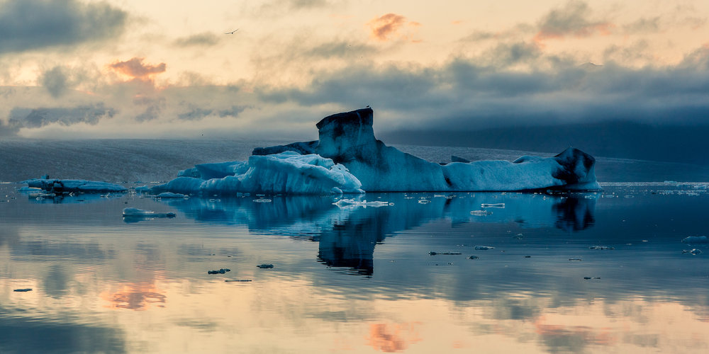 A huge  iceberg  in the shape of a  submarine  on  Jökulsárlon Glacier Lagoon  in  Iceland .
