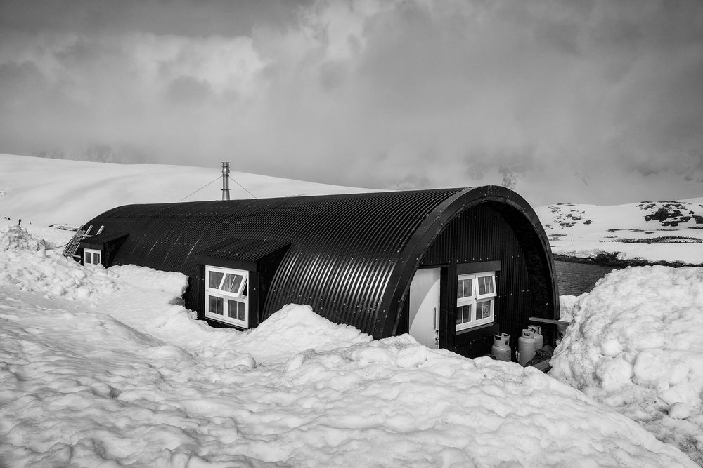 A  shelter  for the  research scientists  who live on site at  Port Lockroy  on  Wiencke Island  in  Antarctica .