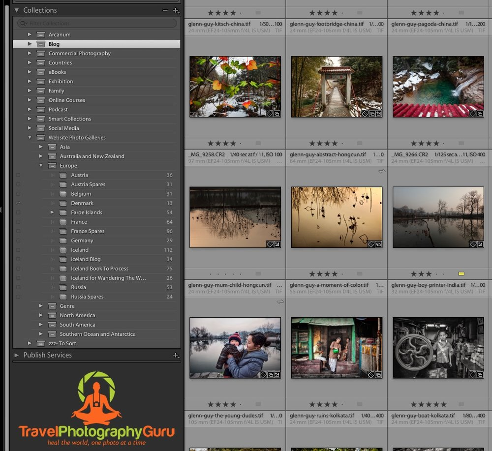 The  Collections  panel in  Lightroom , a major component in my  Lightroom workflow .