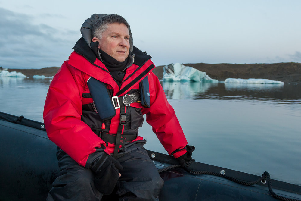 Glenn Guy   , the    Travel Photography Guru   , during a midnight cruise on    Jökulsárlón Lagoon, Iceland   .