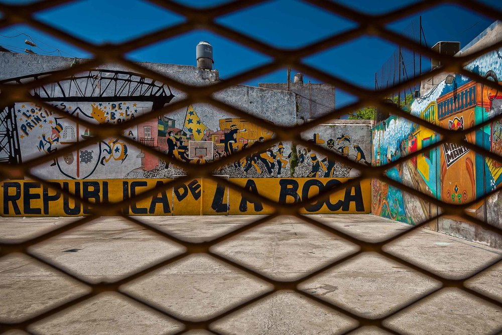 Looking through the wire at    colorful walls    in    La Boca   ,    Buenos Aires, Argentina   .