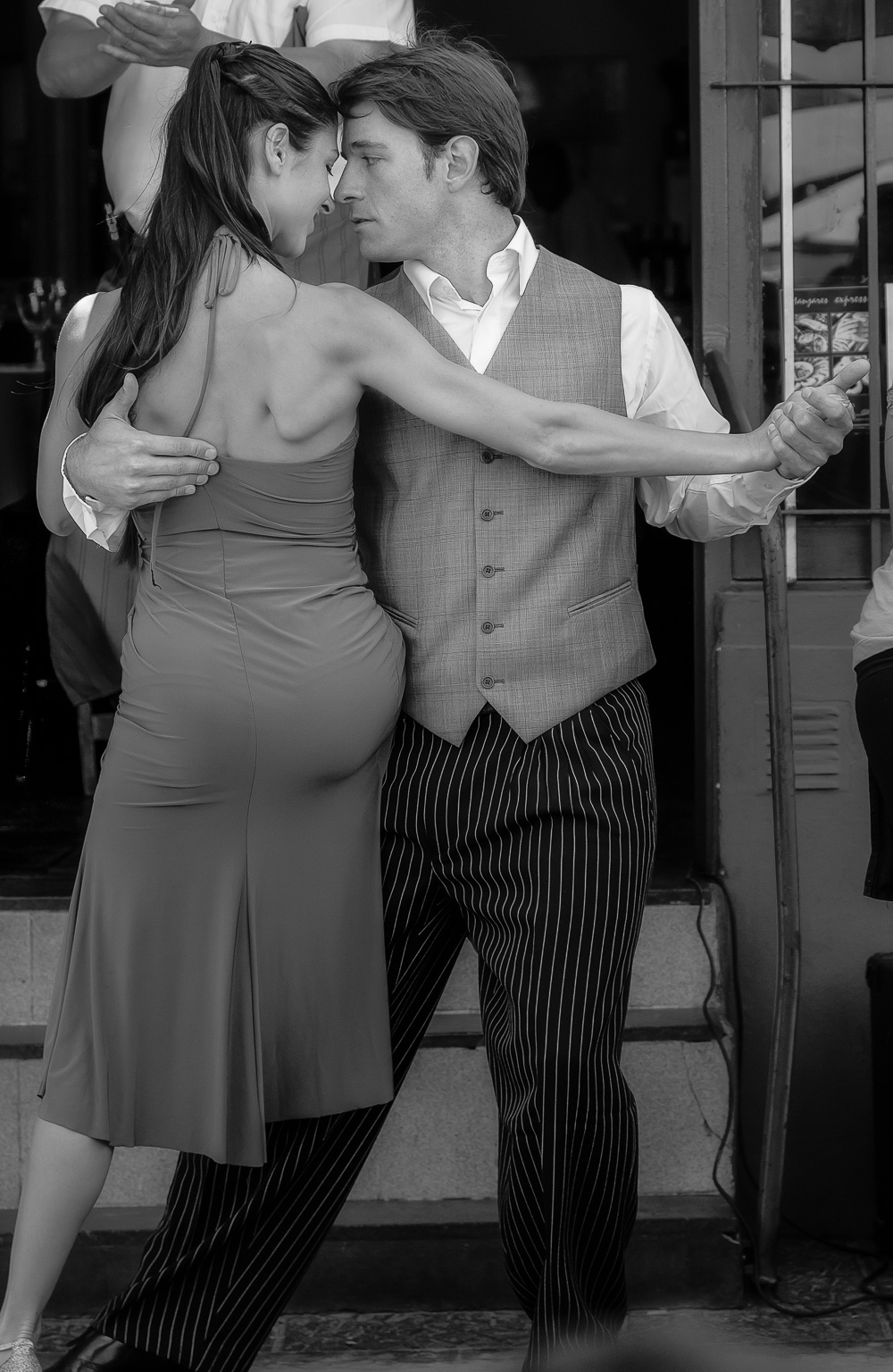 A couple of    performers dancing outside a restaurant    in the streets of the    La Boca    precinct in    Buenos Aires, Argentina   .