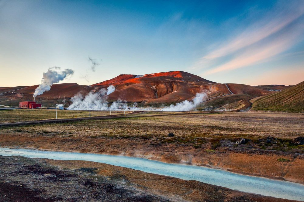 Geothermal  activity along the road near  Myvatn  in northern  Iceland .