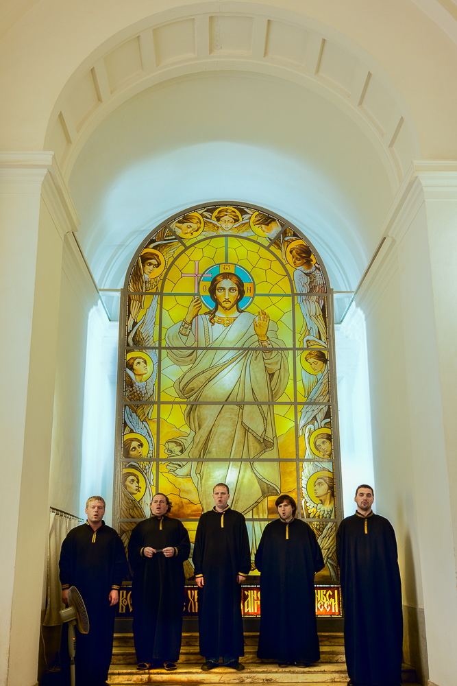 An  inspirational performance  in a spectacular setting by  monks singing  in  Peter and Paul Cathedral  in  St. Petersburg, Russia .