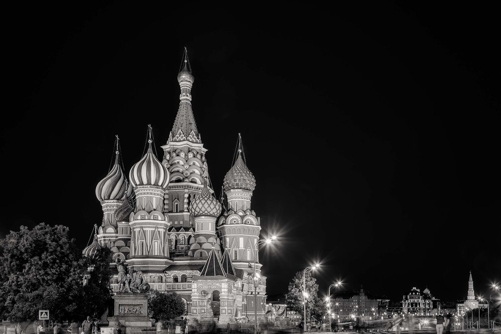 The magnificent    St. Basil's Cathedral    illuminated at    night    in    Moscow, Russia   .