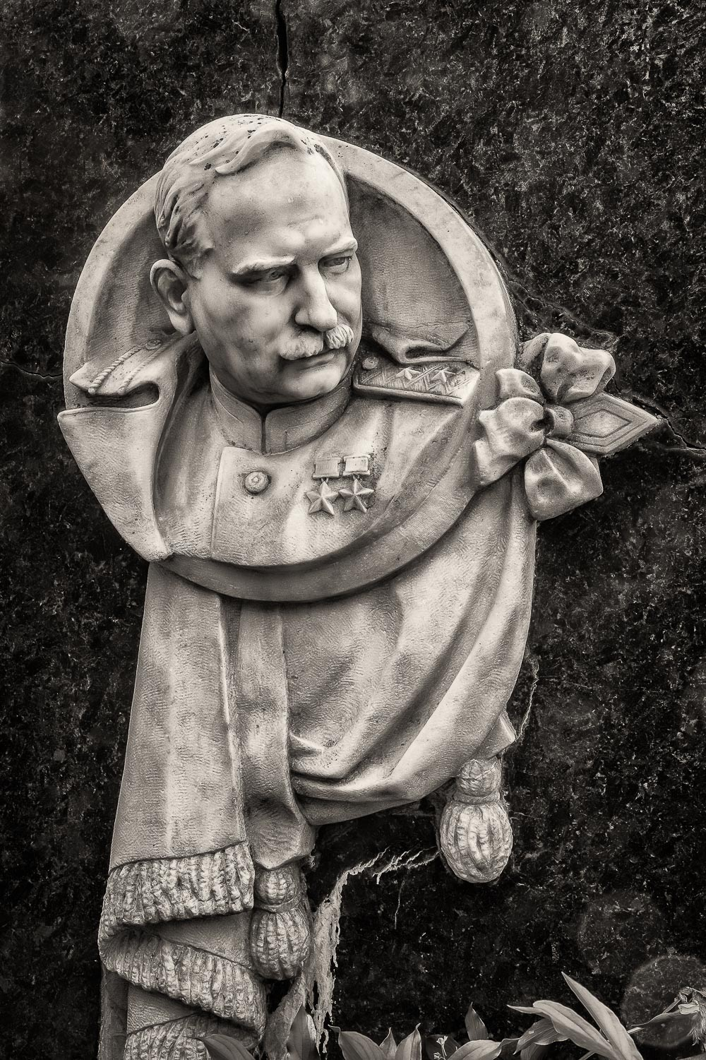 A beautifully carved    bust    of an important    military figure    on his grave at    Novodevichy Cemetery    in    Moscow, Russia   .