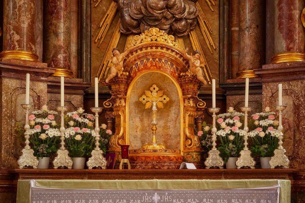 A beautiful detail of the  altar  at  St. Sebastian's Church  in  Salzburg, Austria .