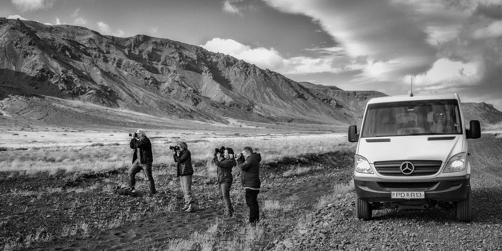 Glenn Guy   , the    Travel Photography Guru   , with members of a    Landscape Photography Tour    to    Iceland   . Photo by    Tony Pepper   .