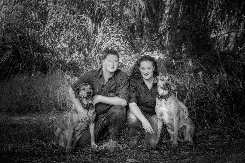 Couple with dogs, Hamilton, Australia.