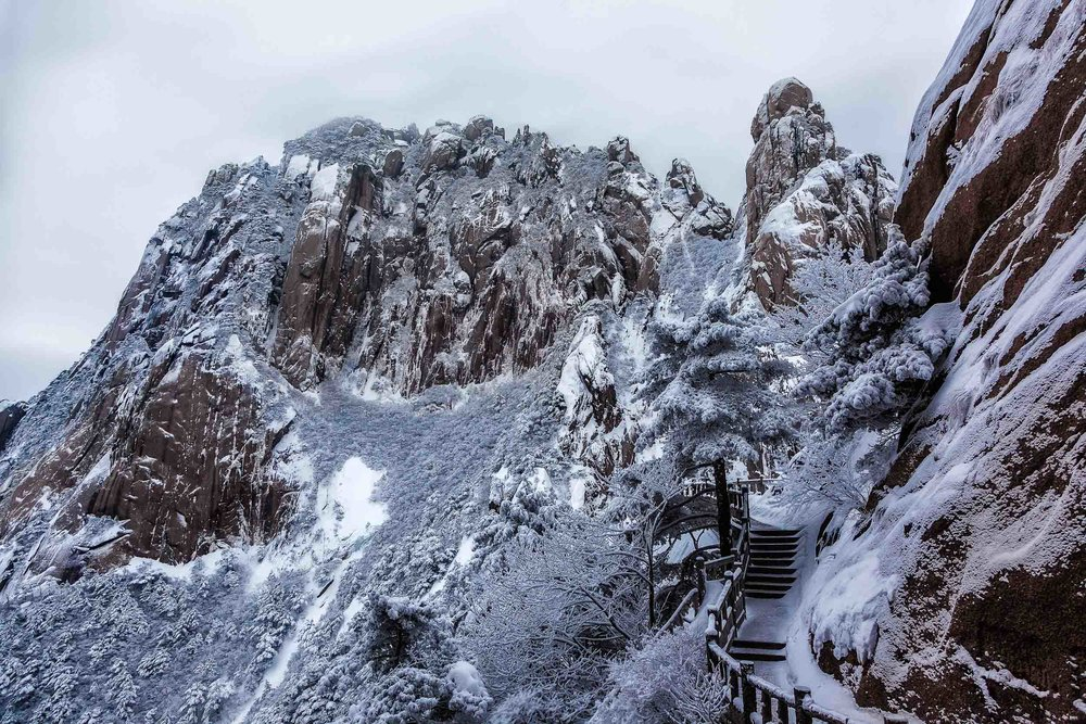 Three of the hardest and    most beautiful days of my life    were spent walking the paths of    Huangshan    (i.e., Yellow Mountain) in    China    during the middle of winter.