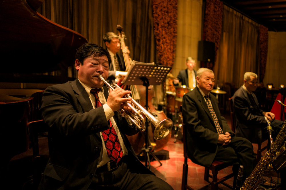 Some of the members of the famous    Old Jazz Band    in the    Jazz Bar    at the    Fairmont Peace Hotel    in    Shanghai   , China.