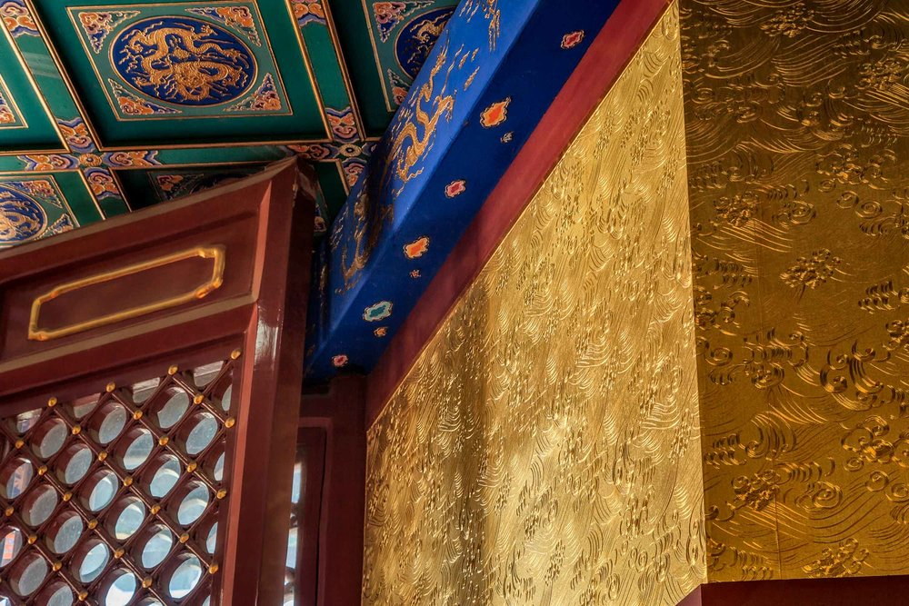 Intricately carved details adorn the walls in a pavilion at the    Temple Of Heaven    in    Beijing, China   .