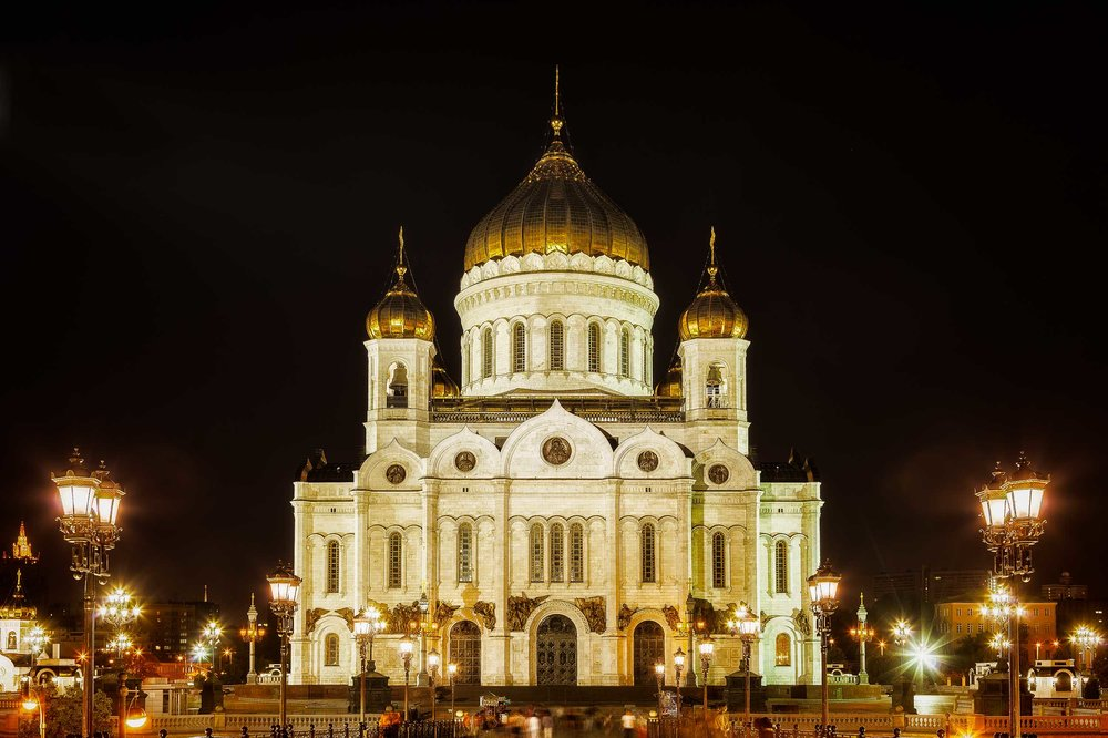 A    night    time view of the spectacular    Cathedral of Christ the Saviour    in    Moscow, Russia   .