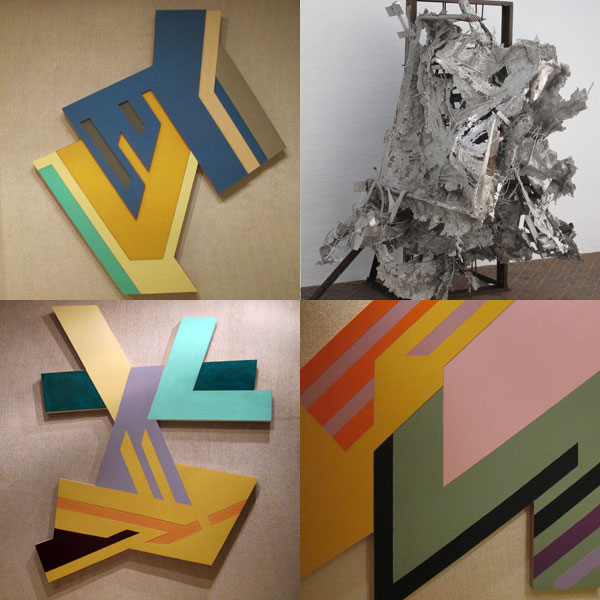 Multiple Frank Stella works on display in both of the gallery spaces.