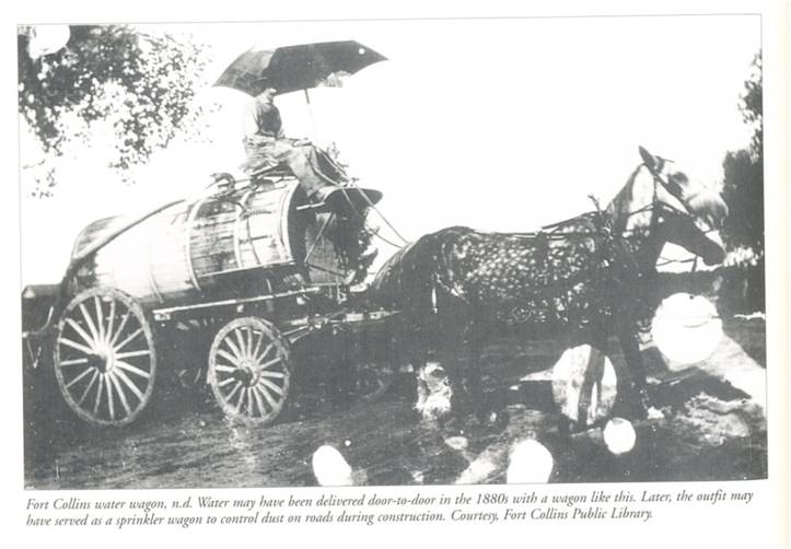 Water may have been delivered door-to-door in the 1880s with a wagon like this. Later, the outfit may have served as a sprinkler wagon to control dust on roads during construction. Courtesy, Fort Collins Public Library