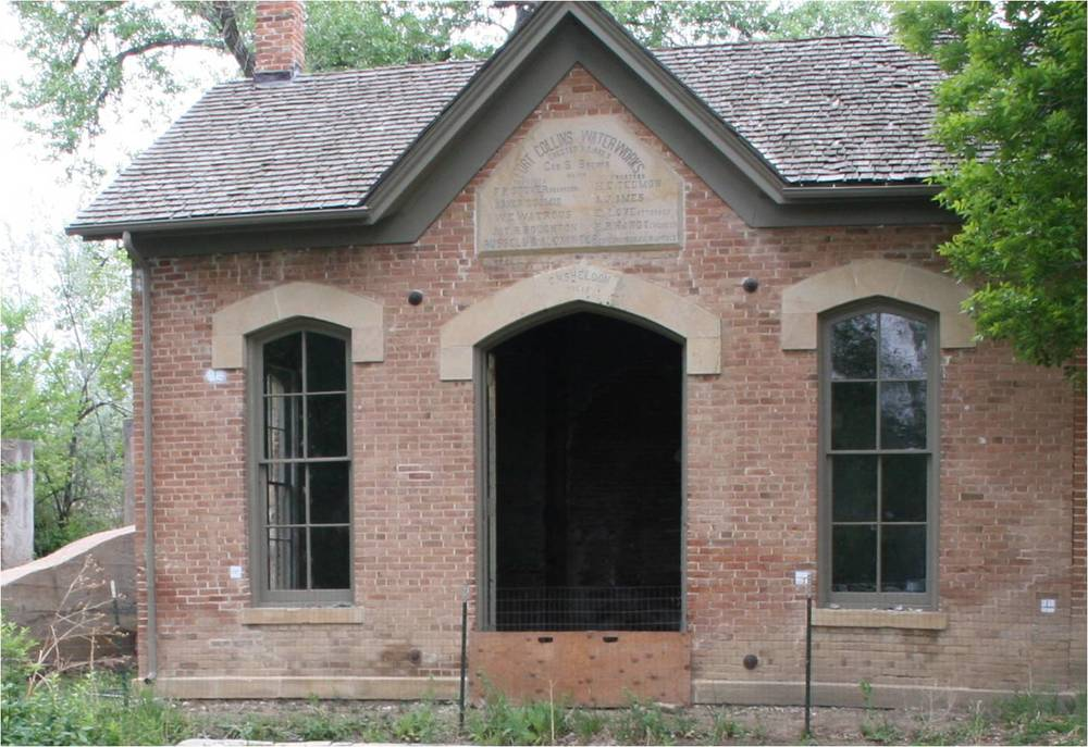 The names of the Fort Collins officials involved in the 1882-1883 Water Works   construction are listed on a sandstone plaque mounted on the east wall above the doors.