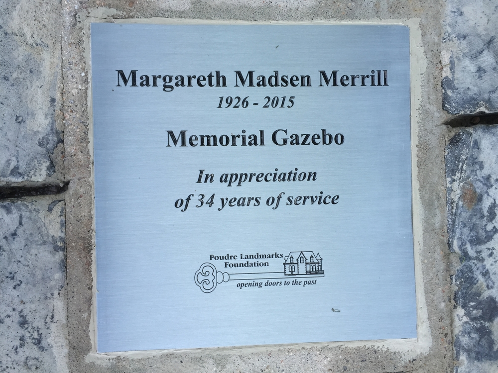 This dedication plaque is in the center of the restored gazebo's floor