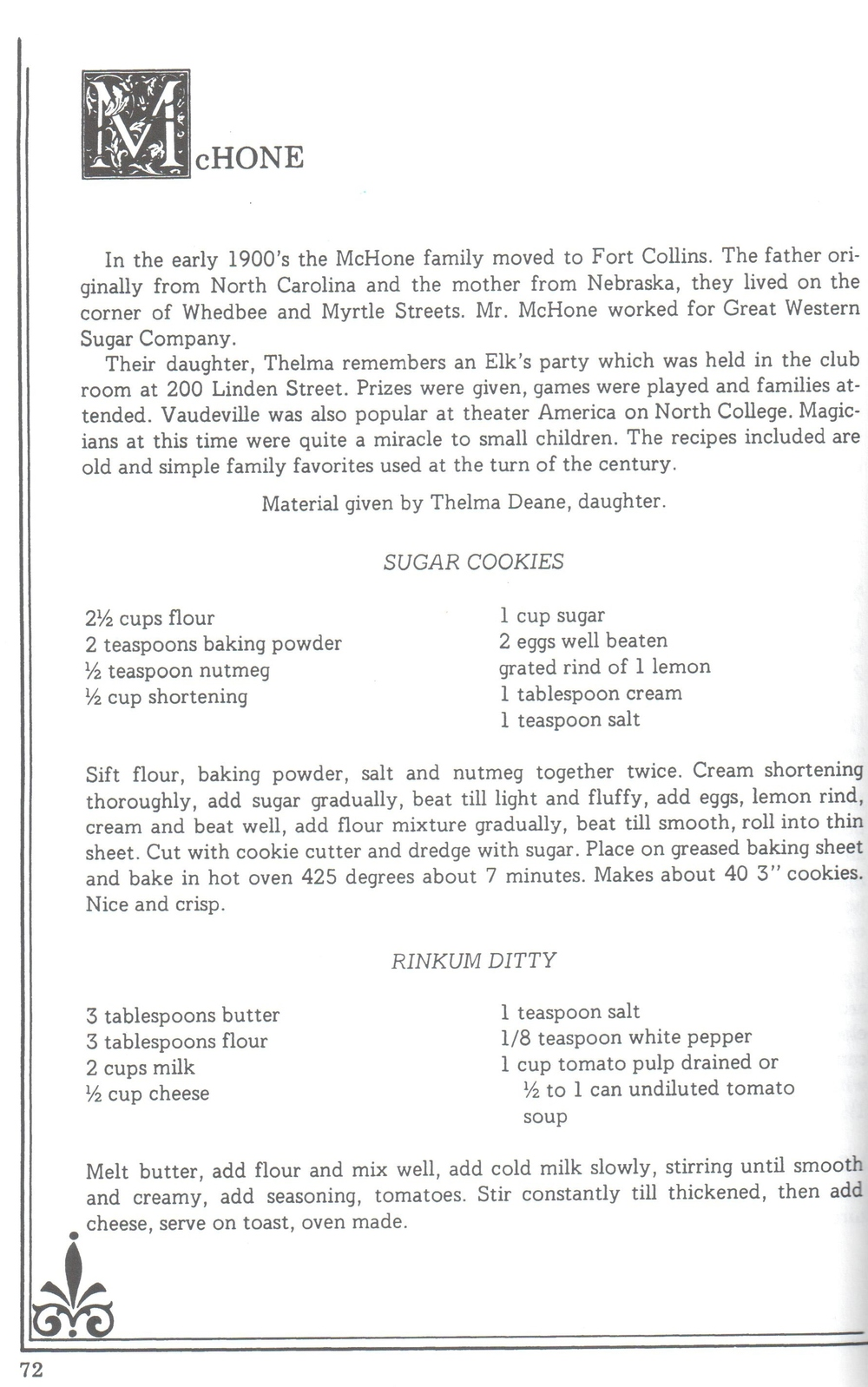 a sample page from  the avery house collection: Recipes and Biographical Sketches