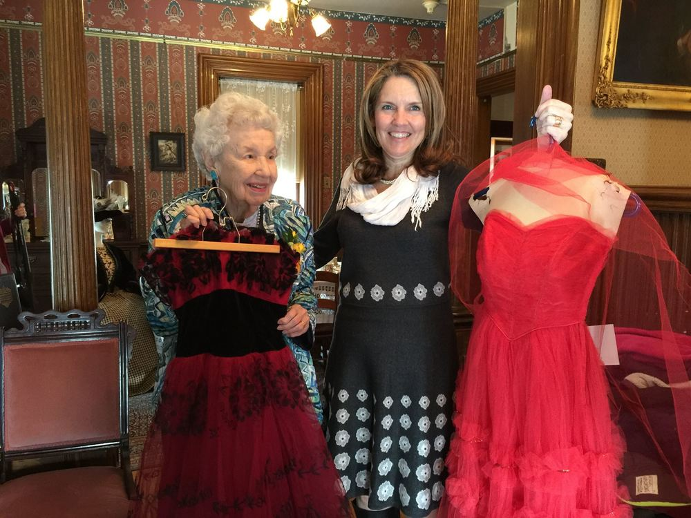 Margaret Brown (l.) and Avery Guild Costume Chair Kimberly Miller (r.) hold dresses that are part of the Margaret Brown Collection but not yet on public display. The Margaret Brown Collection is on display at the Avery House Feb-July 2016, and during that time, pieces will be rotated in and out of display to correspond with the seasons. In the spring, these lovely, off-the-shoulder dresses may be on display, and in the summer, some vintage swimsuits that are part of the collection may be displayed. Be sure to come by the house often to see what's new in the Margaret Brown Collection exhibit.