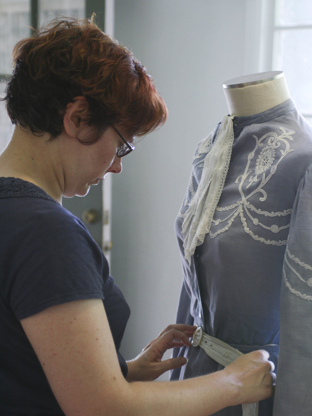 """""""Typically, we would take the garment apart to figure out how it was made, and create a pattern out of it,"""" Medlock said. She can't do that with these historical pieces -- instead, she is examining each piece and taking detailed notes, drawings and measurements."""