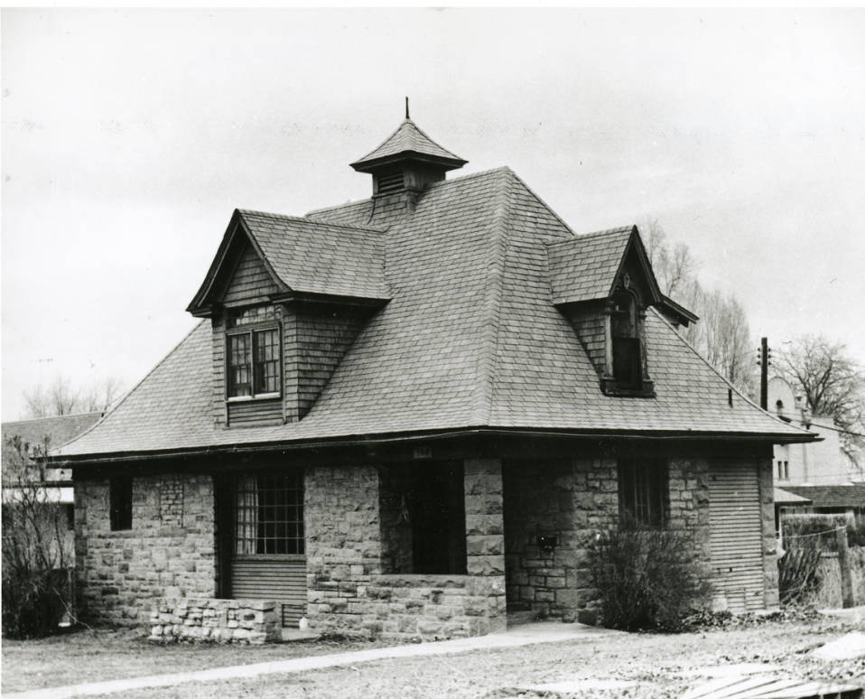 Circa 1976, from the Fort Collins History Connection archives. Black and white photograph of the Avery Carriage House located at 108 North Meldrum; Fort Collins, Colorado. The Avery House is located at 328 West Mountain Avenue; Fort Collins, Colorado.