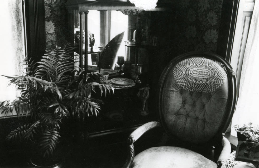 Circa 1980. Black and white photograph of the interior of the Avery House located at 328 West Mountain Avenue; Fort Collins, Colorado.