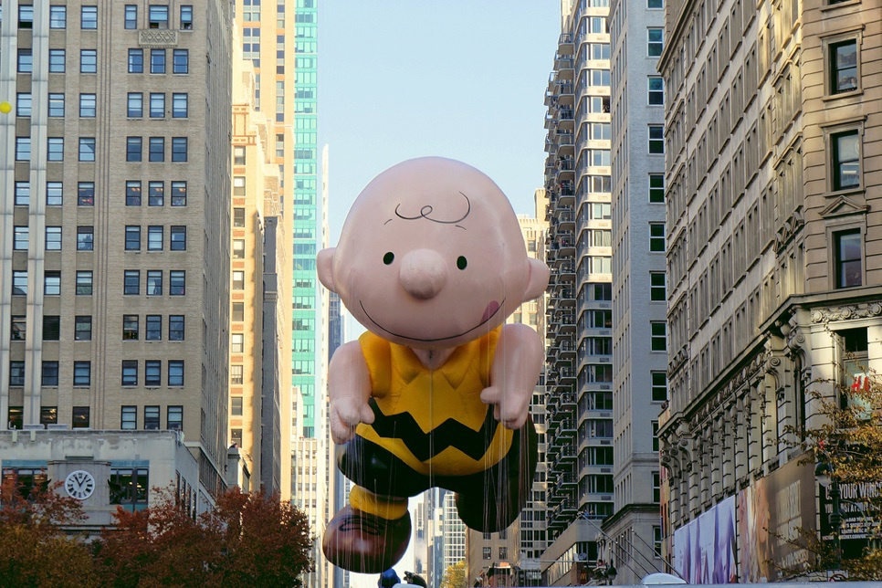 An inflated Charlie Brown
