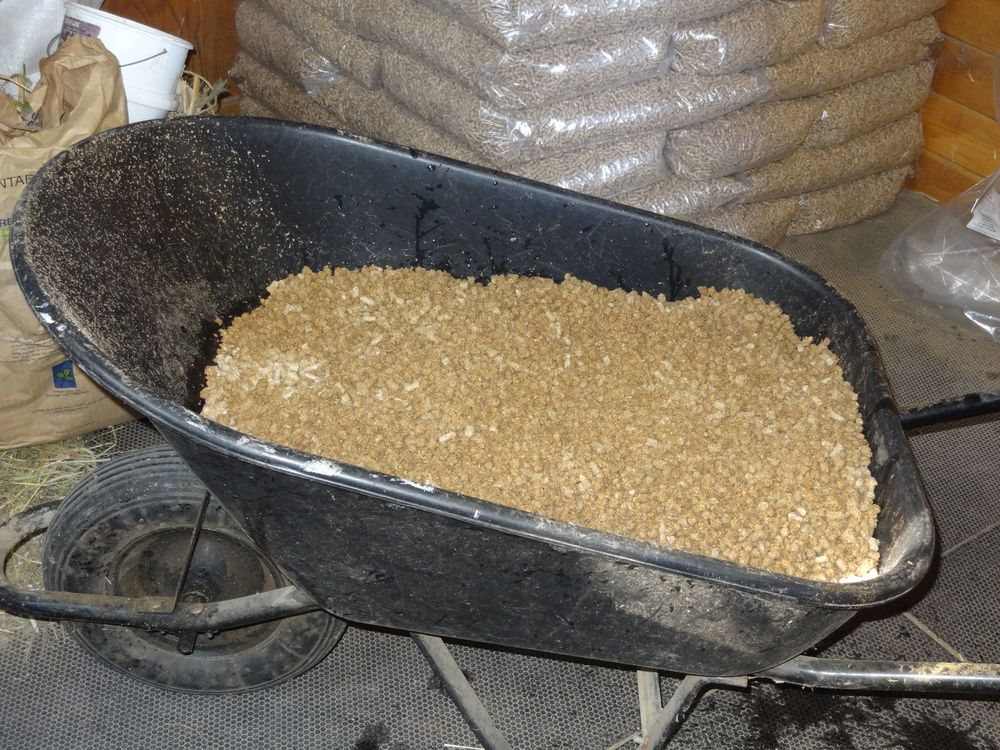 Wood pellets animal bedding in wheelbarrow